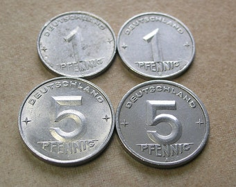 Lot Vintage Aluminum Coins dating from 1949-1953, Set of 4 East German Collectible Alu Coins, GDR East Germany Vintage Aluminum Coins, Coins