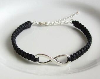 Black Silver Infinity Charm Bracelet, Silver Infinity Bracelet, Adjustable Macrame Bracelet, Friendship Infinity Bracelet
