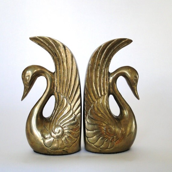 vintage bookends brass swans love birds graceful by