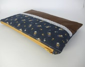 large navy floral and brown corduroy zipper purse