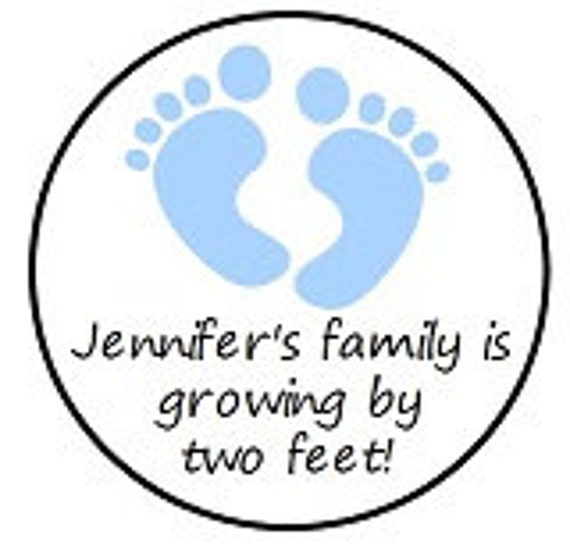 Personalized Footprint BABY Shower Hershey Kiss Stickers Party Favors Candy Labels Boy Girl Twins Triplets Envelope Seals Pink Blue Green