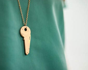 Hidden Knife Key Necklace on Gold plate chain and findings