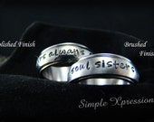 2 Rings - Couples Spinner Rings - Matching Hand Stamped Rings