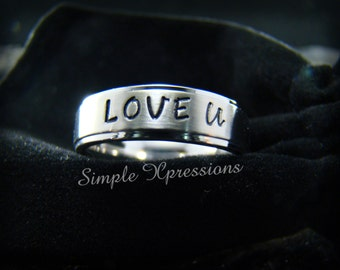 Personalized Hand Stamped Ring - 6mm Matte w/Shiny Edges