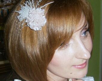 Light Pink/ Peach/Champagne Roses Bridal Hair Clip/Champagne Bridesmaid Hair Clip