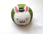 Baron Reginald Bunny, Lord of Rabbiton// cute, soft felt bunny rabbit with monocle pin