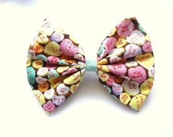 FREE US SHIPPING! I heart U- conversation hearts candy bow// kawaii valentine heart bow// stocking stuffer