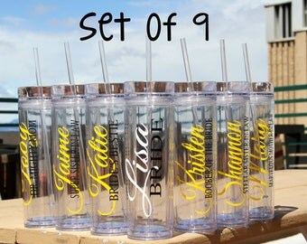 SALE, 9 Skinny Personalized Bridesmaid Tumblers - Wedding Party Acrylic Tall Tumblers - Set of NINE