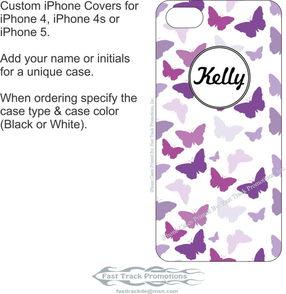 Custom Printed iPhone 4/4s, iPhone 5/5s, iPhone 5c, OR iPhone 6/6s Case with Purple Flowers Design