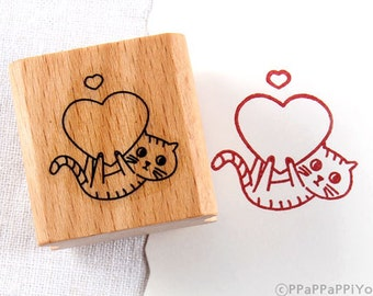 50% OFF SALE Heart Cat Rubber Stamp
