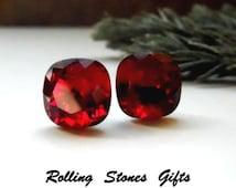 10mm Siam Swarovski Rounded Corner Square Rhinestone Stud Earrings-Dark Red Swarovski Crystal Studs-Red Square Rhinestone Stud Earrings