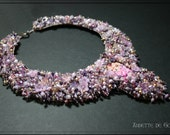 Bead embroidered collar - lilac necklace - flower necklace - bead embroidered necklace - romantic necklace - statement necklace