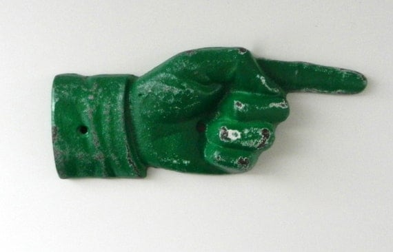 pointing finger / distressed hand sign / vintage style sign / emerald home decor / st. patrick's day decor