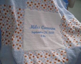 Custom Chenille Baby Boy Blanket  (Personalized)