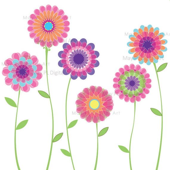 Pink Flowers Clipart Spring Floral Decorations by MayPLDigitalArt