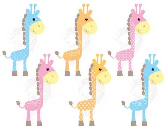 Cute Giraffe Clip Art Baby Giraffe Animals by MayPLDigitalArt