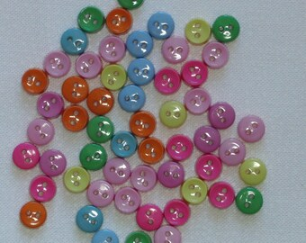 Buttons / 40 plus tiny buttons bright tropical colours / 0.25 inch