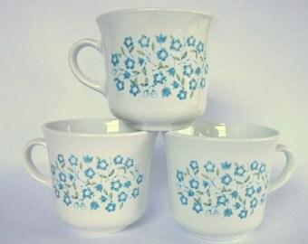 "Vintage Corelle ""Blue Heather"" Cups, Set of 3 Floral Centura Mugs, Blue & Green Flowers"