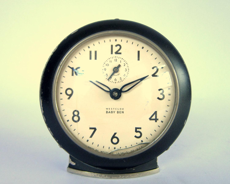 Vintage Westclox Baby Ben Style 61 V Gunmetal Black Alarm