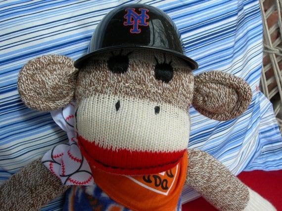 World Series NY Mets Baseball Classic Brown Red Heel Sock Monkey Doll