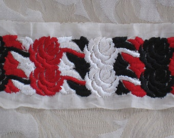 "Red, Black & White Wide Embroidered Floral Vintage Trim - Antique Supplies - 17"" Long"