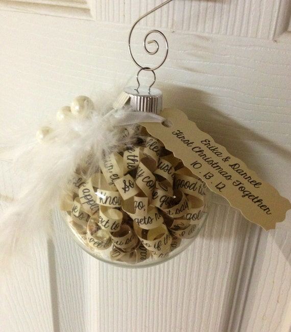 Personalized Ornament Customized with Couple's names, dates, song lyrics, vows, etc. Makes a great keepsake for years