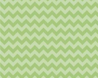 Small Chevron Tone on Tone Green by Riley Blake Designs Half  Yard Cut