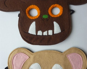 Hand finished Gruffalo and Mouse set mask, dress up or role play costume for children. Great birthday present!