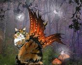 calico cat art print. calico cat art. winged cat art print. an 11x14 limited edition print. calico cat