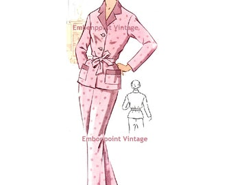 Plus Size (or any size) Vintage 1950s Pyjama Pants Pattern - PDF - Pattern 223b Holly Pyjama Pants