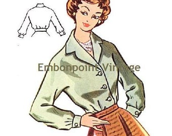 Plus Size (or any size) Vintage 1950s Blouse Pattern - PDF - Pattern No 95 Laurie