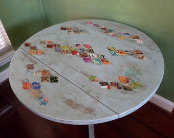 "SOLD -36"" Aqua Bistro Drop Leaf Table Hand Painted and Distressed Bohemian Decoupaged"