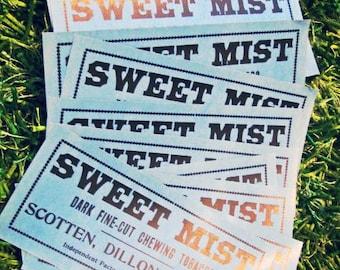 Sale 10 Vintage Unused Sweet Mist Tobacco Advertising Labels NOS Detroit Scotten Dillon Co.