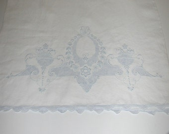 No. 200 Antique/Vintage Blue/White Appenzell Linen Pillowcase Excellent and Unused, 1 Repairable Flaw