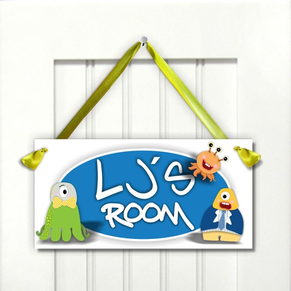 Personalized Kids Door Signs Funny Little Monsters