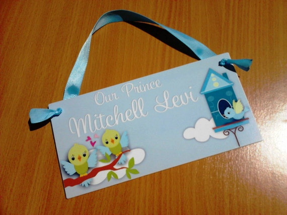 Personalized baby boy door sign cute birds bedroom decor for Baby boy door decoration