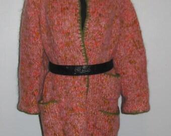 OVERSIZED Pink Mohair Jacket // Handmade Knit Crochet House Coat 60's Size L XL Plus Green Trim Multi Color