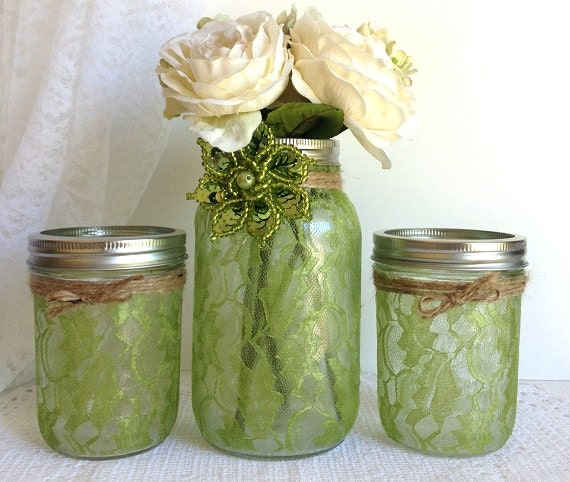 Items Similar To Green Lace Mason Jars