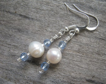 Freshwater Pearl Earrings, Gemstone Beaded Earrings, Baby Blue Earrings, June Birthstone Earrings, READY To SHIP