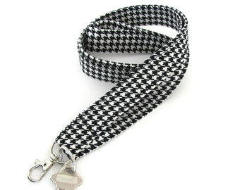 Fabric Lanyard Black White Houndstooth ID Badge Holder Lanyard Unisex Key Lanyard Keys Holder by Ovation Studio