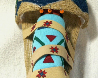 Paiute papoose Native American Indian cradle board art doll miniature collectible replica historical
