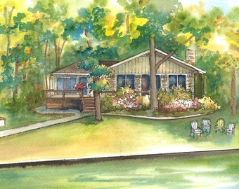 """Watercolor painting of vacation home - lake house - house portrait 11""""x 14"""" Custom watercolor portrait of your home"""