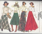 Vogue 9880 Sewing Pattern - Semi Circle  Flared Maxi Skirt In 4 Styles Size 30