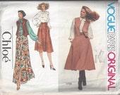 Vogue Paris Original 1759 Womens Boho Vest, Blouse and Skirt Size 14