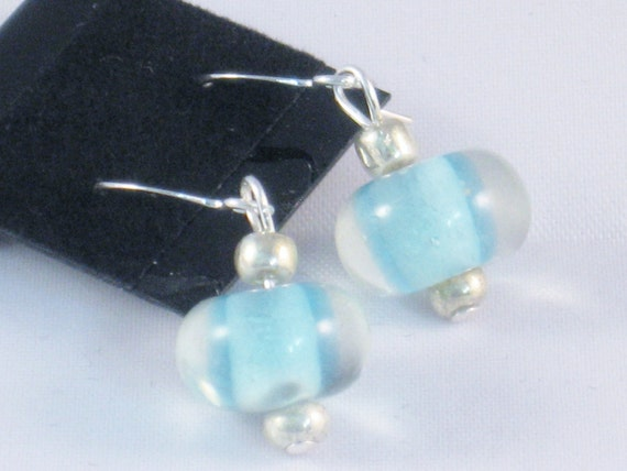 Earrings in Light Blue and Silver