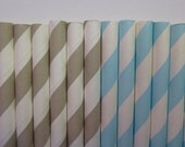 50 Light Blue and Light Grey Striped Paper Straws-  Food Safe, Biodegradeable, Soy Based Ink- Baby Shower Decorations