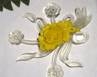 Celluloid Rose Brooch....Vintage...1950's...Clear Celluloiud With Cream Rose....Antique Pin