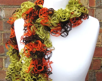 Fishnet Scarf, Ruffle Fishnet Scarf, Knit Ruffled Scarf in 3 colours