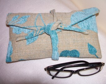 35- light blue and beige clutch, pattern of colors, handmade