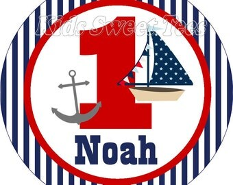 Nautical birthday shirt with anchor and sail boat, anchor birthday, nautical birthday iron on, sail boat birthday digital image for shirt